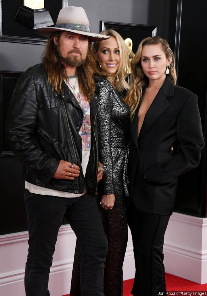 Billy Ray, Tish and Miley Cyrus at 2019 Grammy Awards