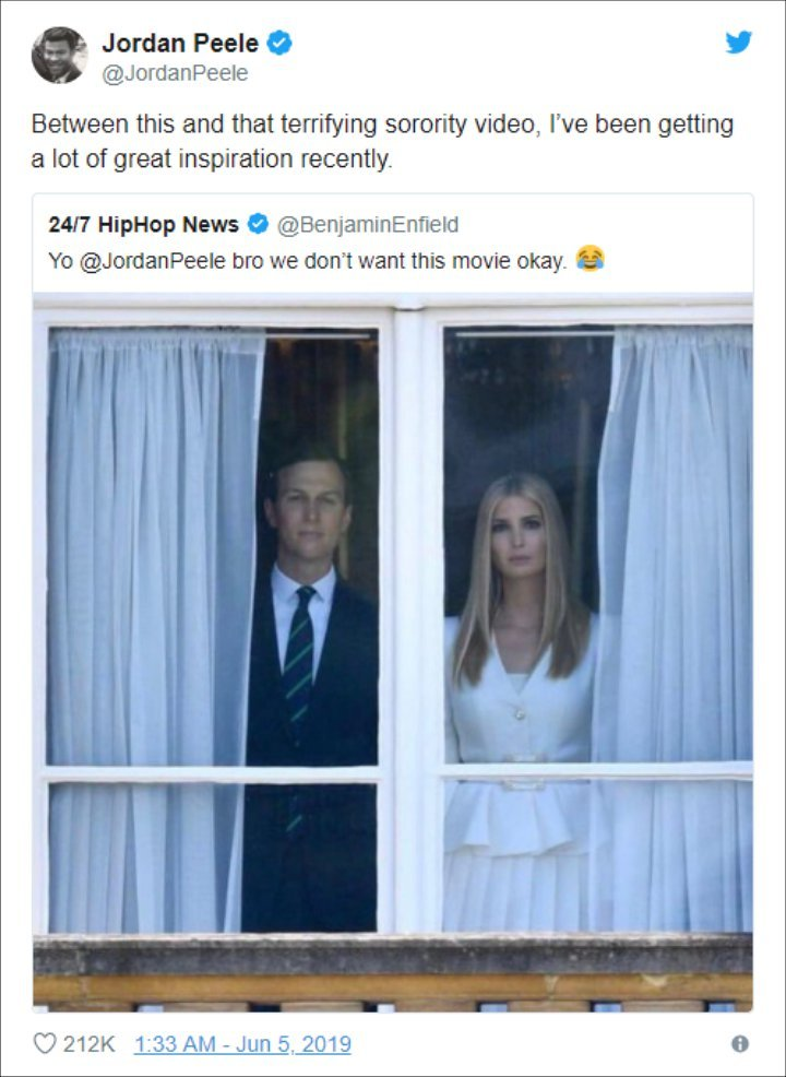 Jordan Peele Pokes Fun at Ivanka Trump and Jared Kushner's Creepy Photo at Buckingham Palace