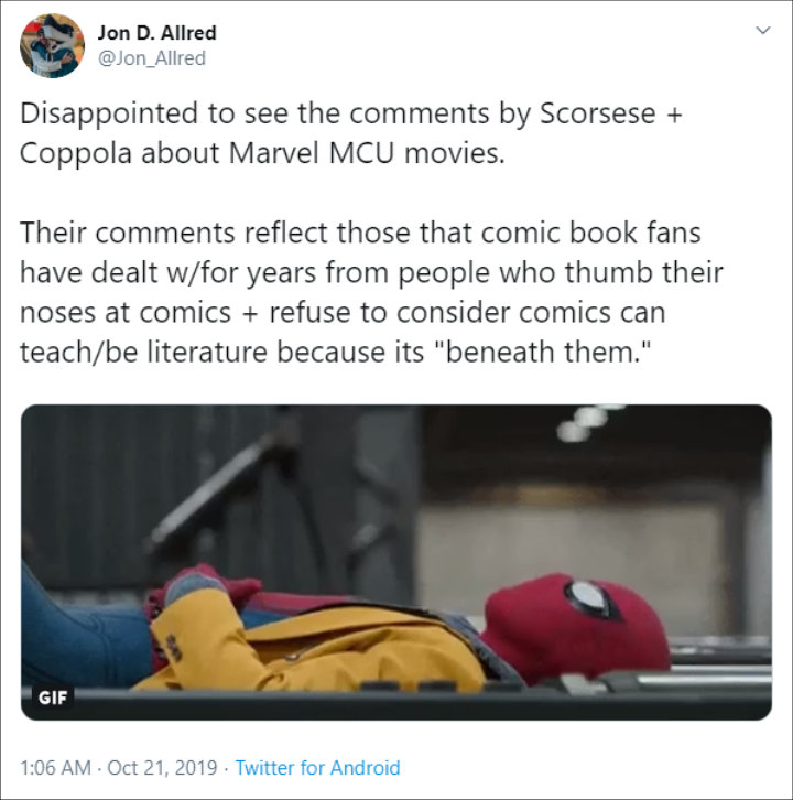 Fans reaction to Francis Ford Coppola and Marvel feud