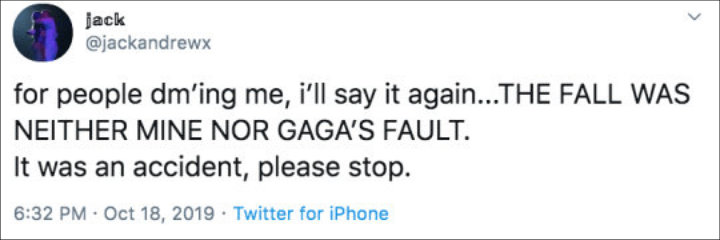Lady GaGa's Fan Tells People to Stop Blaming Him for Her Fall From Vegas Stage