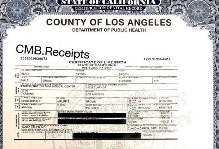 Birth certificate of Chris Brown and Ammika Harris' son