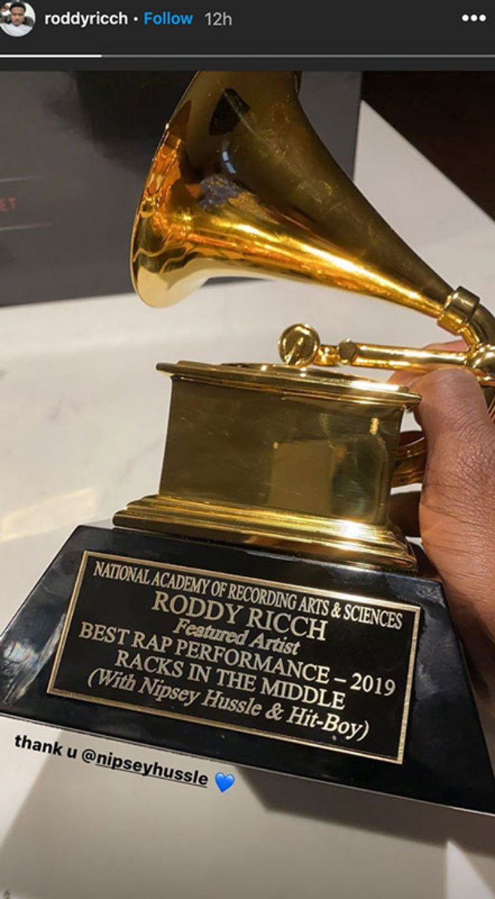 Roddy Ricch received his Grammy