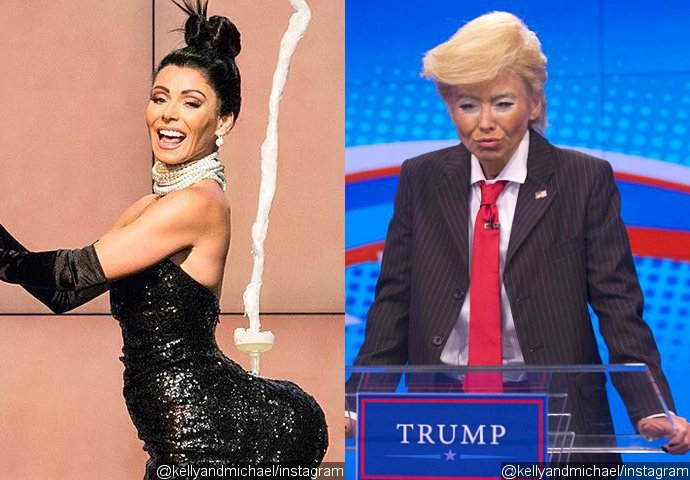 Kelly Ripa Recreates Kim Kardashian's Paper Cover and Donald Trump for Halloween