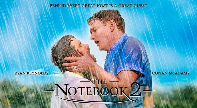 Ryan Reynolds and Conan O'Brien Kiss in 'The Notebook' Spoof