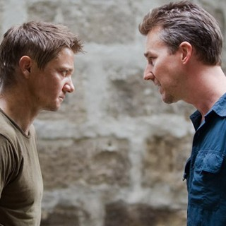 Jeremy Renner stars as Aaron Cross and Edward Norton stars as Byer in Universal Pictures' The Bourne Legacy (2012)