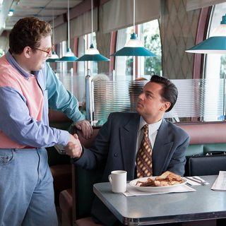 Jonah Hill stars as Donnie Azoff and Leonardo DiCaprio stars as Jordan Belfort in Paramount Pictures' The Wolf of Wall Street (2013)