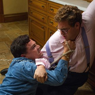 Leonardo DiCaprio stars as Jordan Belfort and Jonah Hill stars as Donnie Azoff in Paramount Pictures' The Wolf of Wall Street (2013)