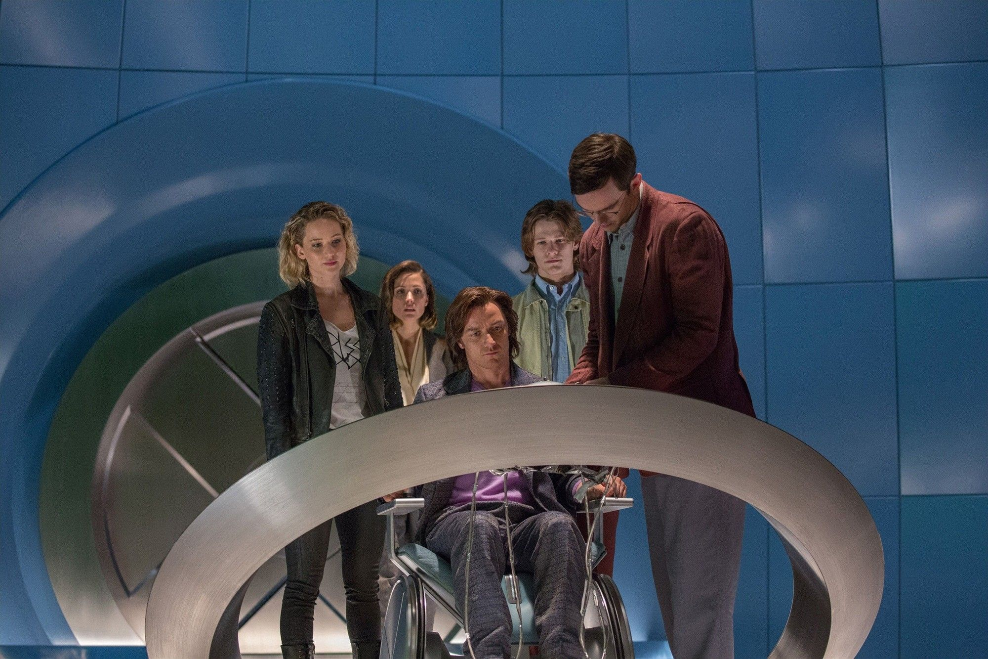 Jennifer Lawrence, James McAvoy and Nicholas Hoult in 20th Century Fox's X-Men: Apocalypse (2016)