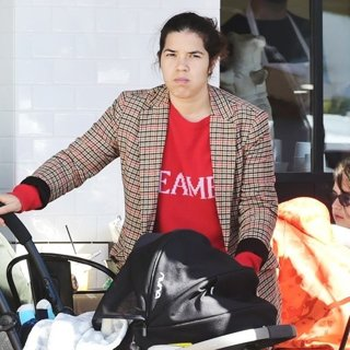 America Ferrera Eats Out with Her Family