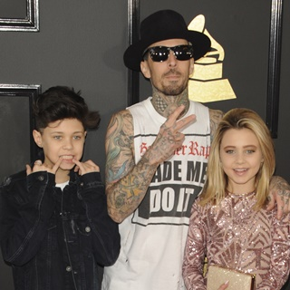 Landon Asher Barker, Travis Barker, Alabama Luella Barker in 59th Annual GRAMMY Awards - Arrivals