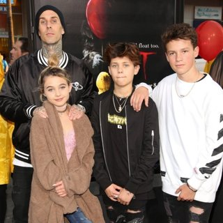Travis Barker, Alabama Luella Barker, Landon Asher Barker in World Premiere of It