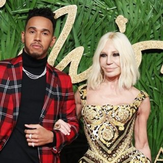 Lewis Hamilton, Donatella Versace in The British Fashion Awards 2017 - Arrivals