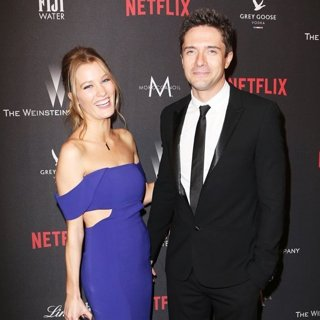 Ashley Hinshaw, Topher Grace in The 2017 Weinstein Company and Netflix Golden Globes After Party