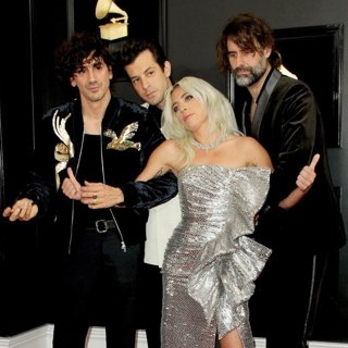Anthony Rossomando, Mark Ronson, Lady GaGa, Andrew Wyatt in 61st Annual Grammy Awards - Arrivals