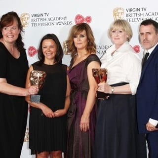 Sally Wainwright, Nicola Shindler, Siobhan Finneran, Sarah Lancashire, Con O'Neill, Kevin Doyle in 2017 The Virgin TV British Academy Television Awards - Press Room