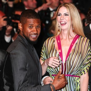 Usher, Claudine Jakubowicz in 69th Cannes Film Festival - Hands of Stone Premiere - Arrivals