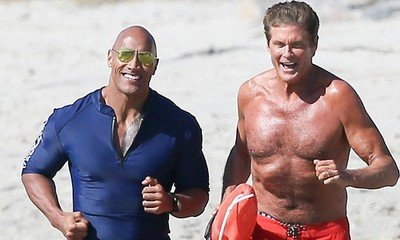 Mitch Is Back! Shirtless David Hasselhoff Spotted Running With The Rock on 'Baywatch' Set