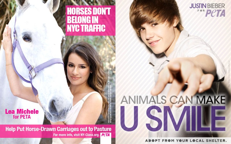 Lea Michele and Justin Bieber Vying for Top Honors at PETA's 2011 Libby Awards