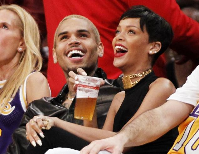 Rihanna and Chris Brown Spotted Watching Lakers Game on Christmas Day