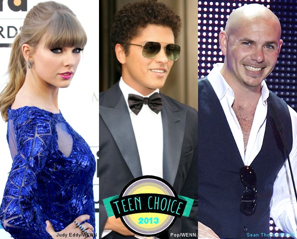 Teen Choice Awards 2013 Nominations in Music: Taylor Swift, Bruno Mars, Pitbull Lead the Pack