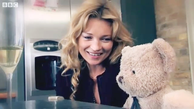 Video: Kate Moss Turns Comic in Misery Bear Skit