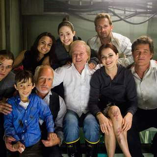 The cast of Poseidon 2006) portrayed with director WOLFGANG PETERSEN